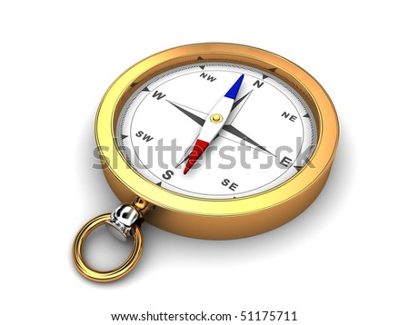 3d illustration of golden compass over white background - stock photo