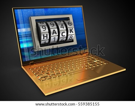 3d illustration of golden computer over black background with digital screen and hack lock