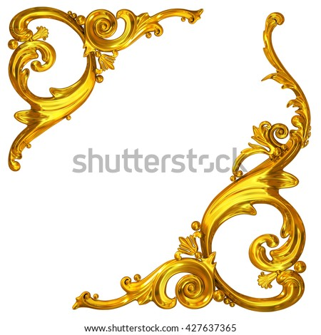 3d illustration  of golden corner ornaments on a white background
