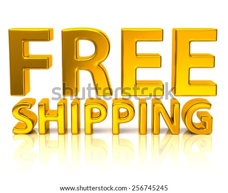 3d illustration of golden free shipping icon - stock photo