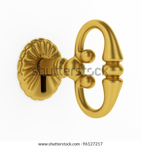 3d illustration of golden key in keyhole isolated on white background - stock photo