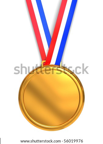 3d illustration of golden medal over white background
