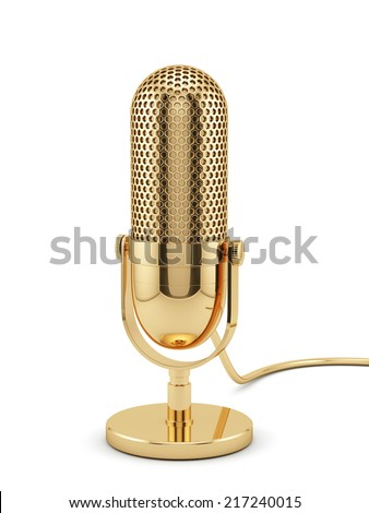 3d illustration of golden microphone isolated on white background  - stock photo