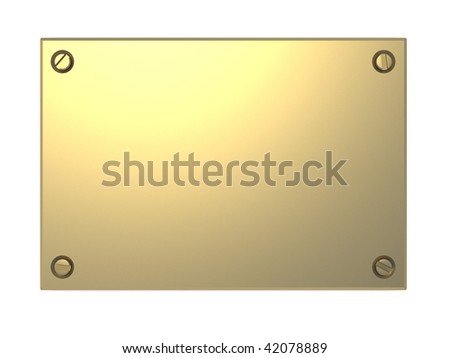 3d illustration of golden plate isolated over white background