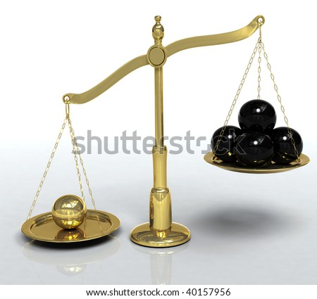 3D illustration of golden scales leaning towards a single golden sphere instead of the 4 black ones, metaphor for exceptional individual