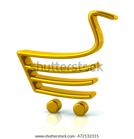 3d illustration of golden shopping cart icon isolated on white background