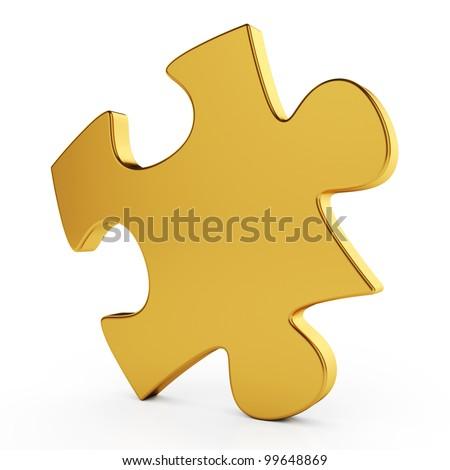 3d illustration of golden single puzzle on white background - stock photo
