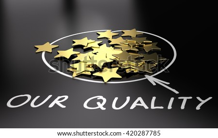 3D illustration of golden stars over black background. Concept of excellent quality - stock photo