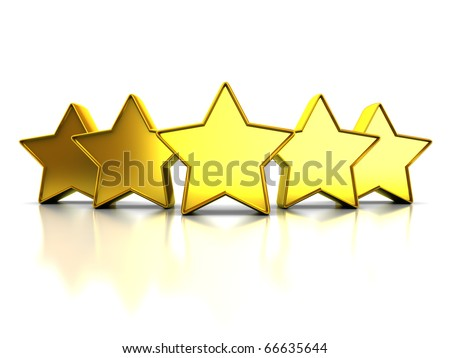 3d illustration of golden stars rating symbol, over white background