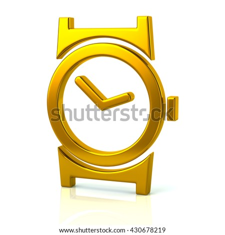 3d illustration of golden watch icon isolated on white background