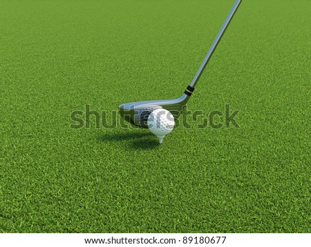 3d illustration of golf ball on a tee with driver - stock photo