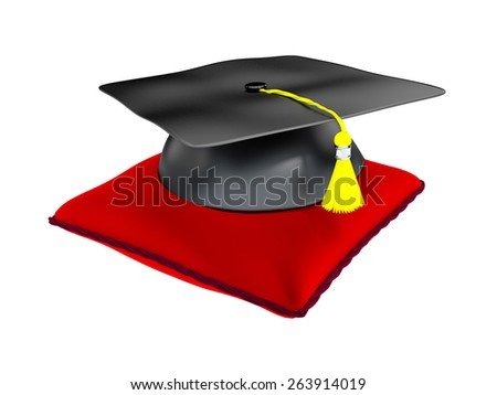 3D Illustration of Graduation Cap Placed On Red Cushion. - stock photo