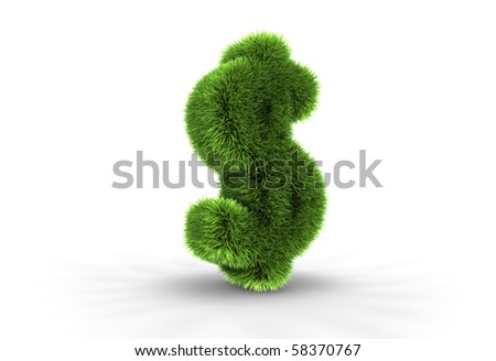 3D illustration of grass dollar sign, isolated on white background