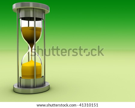 3d illustration of green background with hourglass - stock photo