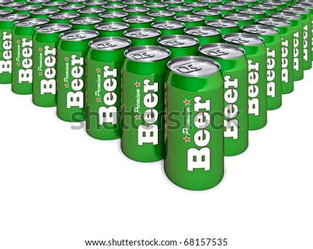 3d illustration of green beer cans - stock photo