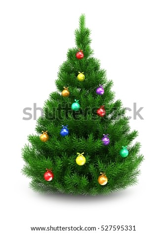 3d illustration of green Christmas tree over white background with glass balls