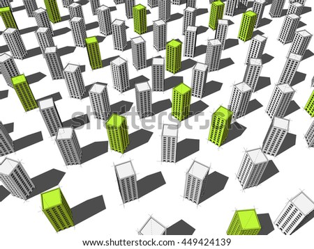 3d illustration of green ecological apartment houses or office buildings standing out from others