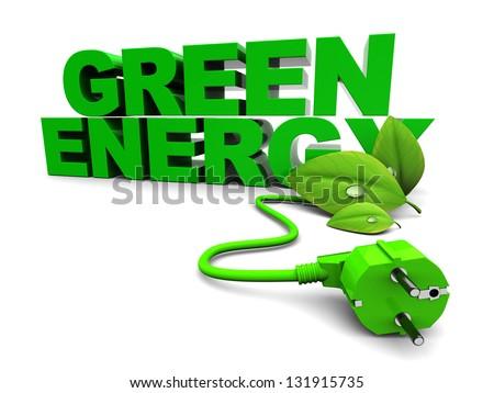3d illustration of green energy sign over white background - stock photo