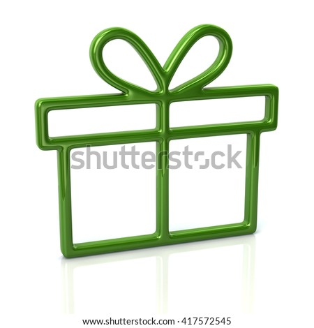 3d illustration of green gift icon isolated on white background - stock photo