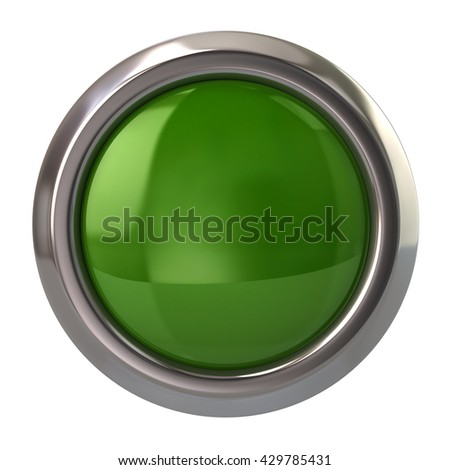 3d illustration of green glossy button isolated on white background - stock photo