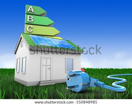 3d illustration of green house over meadow background with energy rating and power cable