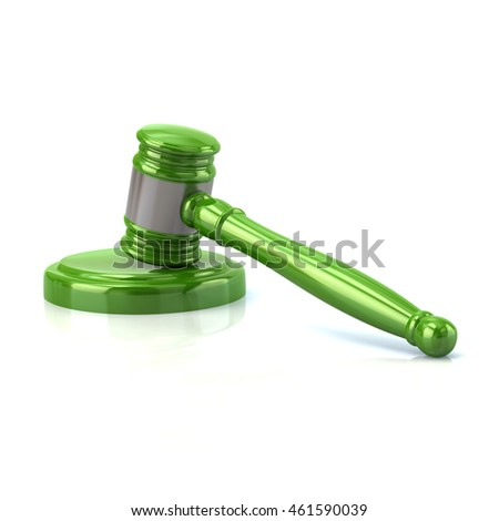 3d illustration of green judges gavel isolated on white background