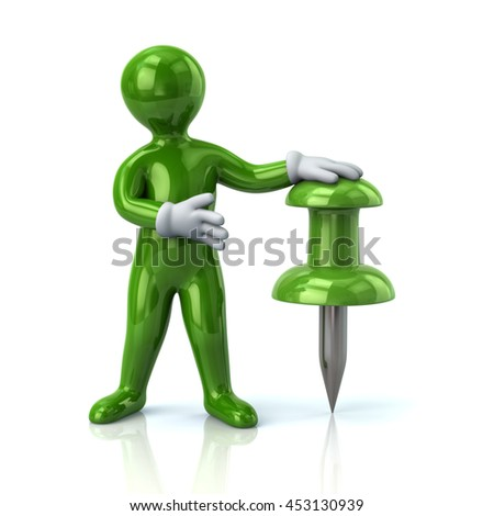 3d illustration of green man and push pin isolated on white background