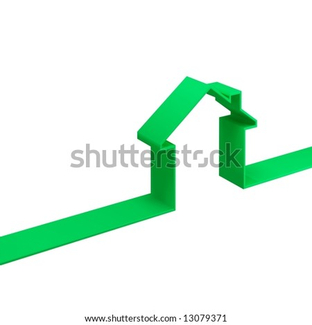 3d illustration of green metaphor house - stock photo