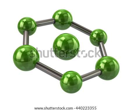 3d illustration of green molecule icon isolated on white background  - stock photo