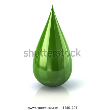 3d illustration of green paint ink drop icon isolated on white background - stock photo