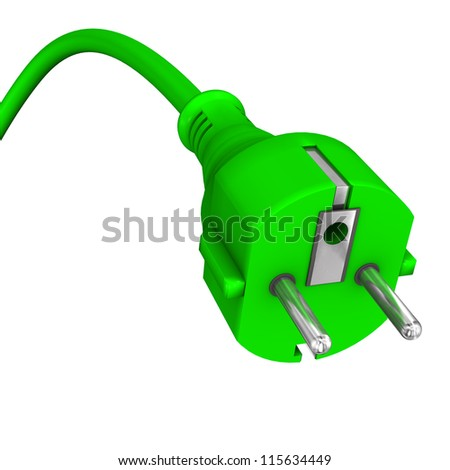 3d illustration of green plug on the white background. - stock photo