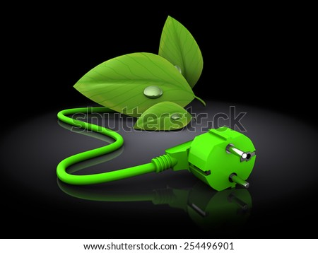 3d illustration of green plug with green leaves over black background - stock photo