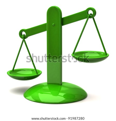 3d illustration of green scales - stock photo