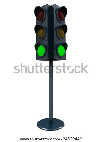 3d illustration of green traffic light over white background