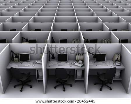 3D illustration of grey office for routine work - stock photo