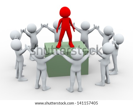 3d illustration of group leader on top with team member.  3d rendering of human character and team work concept.