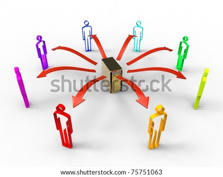 3d illustration of group of people who share data information - stock photo
