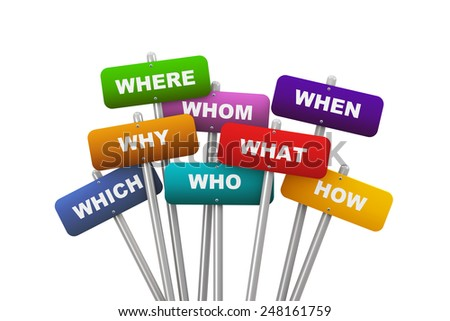 3d illustration of group of placard presenting concept of question words - stock photo