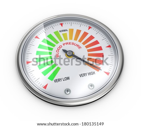 3d illustration of guage meter of blood pressure level - stock photo