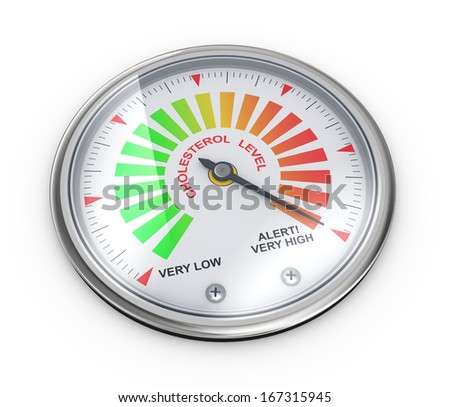 3d illustration of guage meter of cholesterol level - stock photo