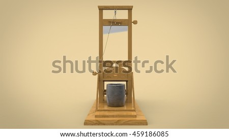 3d illustration of guillotine. white background isolated. icon for game web.