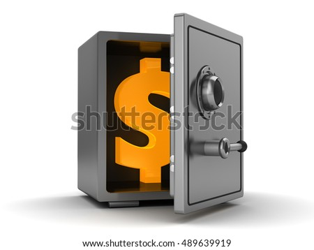 3d illustration of half opened safe with dollar symbol inside