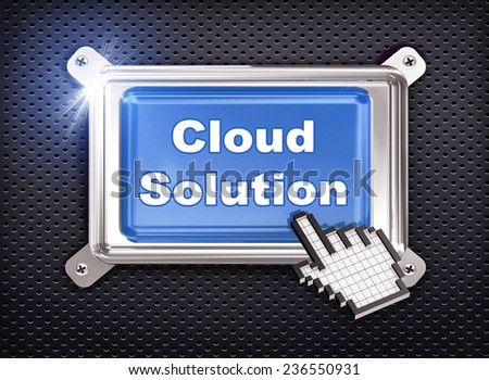 3d illustration of hand cursor pointer and chrome button presentation of concept of cloud solution - stock photo
