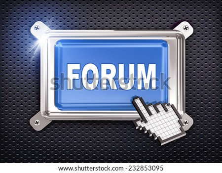 3d illustration of hand cursor pointer and chrome button presentation of concept of forum - stock photo