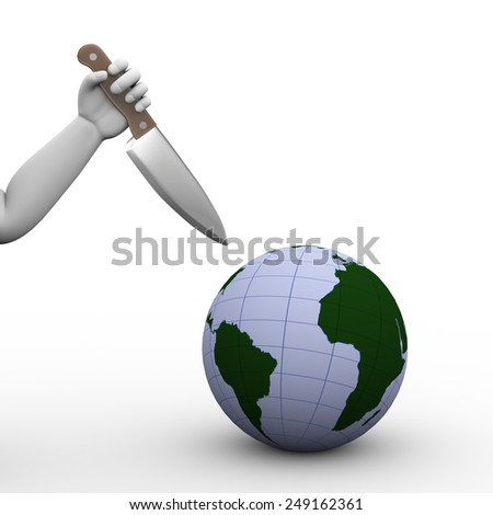 3d illustration of hand holding large knife ready to stab globe world map. Concept of terrorism danger for world - stock photo