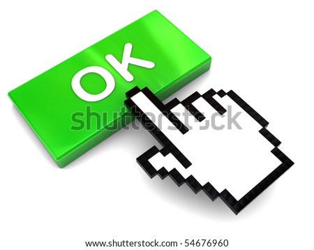 3d illustration of hand mouse cursor pushing 'ok' button