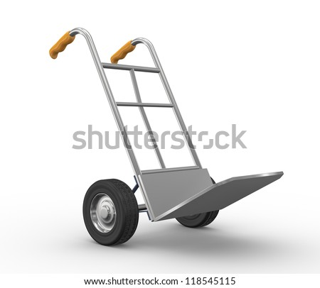 3d illustration of hand truck side view - stock photo
