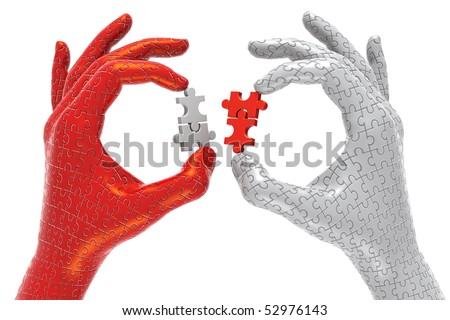 3D illustration of hands made out of plastic jigsaw puzzle pieces, exchanging puzzle pieces, metaphor for partnerships - stock photo