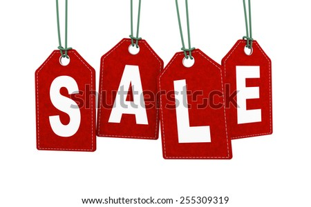 3d illustration of hanging sale label tag. - stock photo