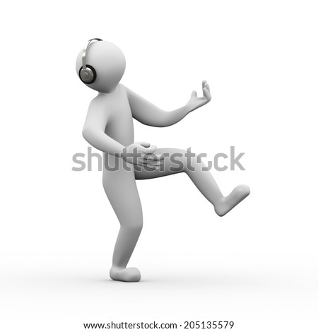 3d illustration of happy dancing person wearing headphone listening and enjoying music. 3d human person character and white people - stock photo